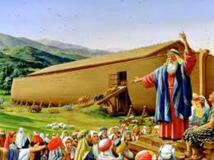 Ной рассказывает людям о грядущем всемирном потопе и призывает покаяться.