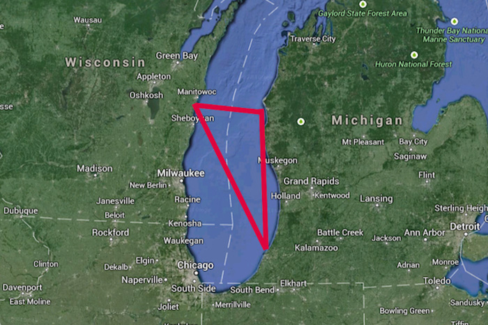 На единицу площади озера Мичиган происходит гораздо больше исчезновений, чем в Бермудском треугольнике.