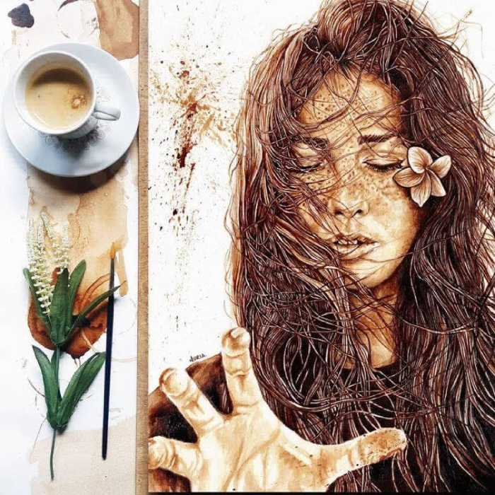 Для оттенков используется несколько слоёв кофе.