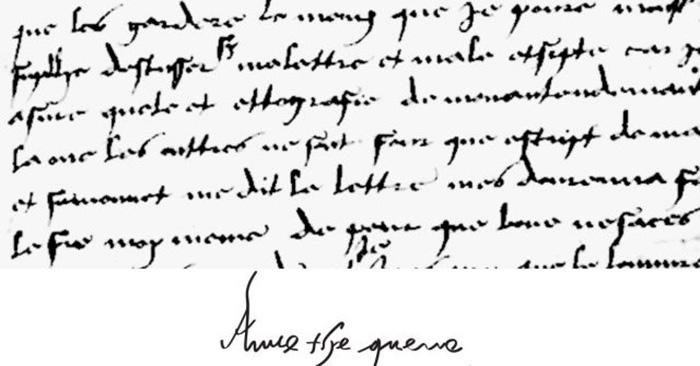 Почерк и подпись Анны Болейн.