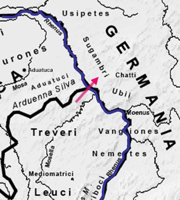 Возможное расположение моста Цезаря через Рейн.