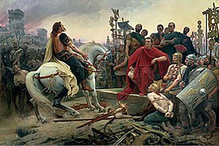 Поверженный вождь мятежных галлов, Верцингеториг, перед Цезарем.