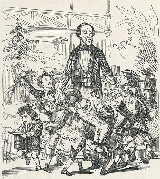 Первый вариант памятника писателю был таким: Ганс Христиан Андерсен в окружении детей.