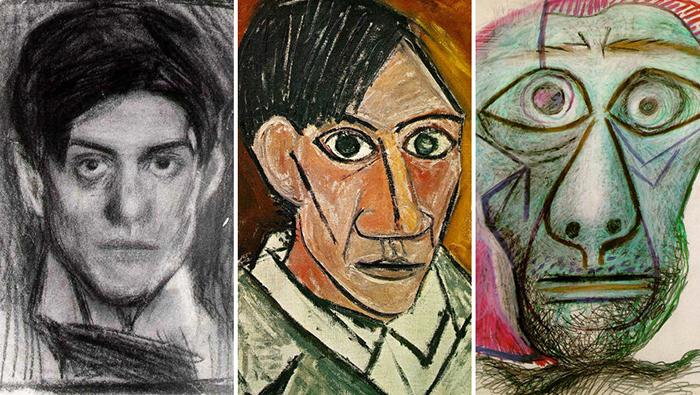 Автопортреты Пабло Пикассо. Художник постоянно менял свой стиль.