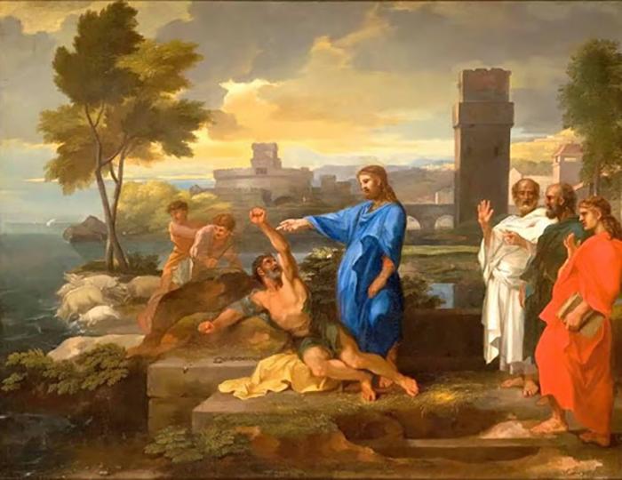 Иисус Христос изгоняет легион бесов из одержимого.