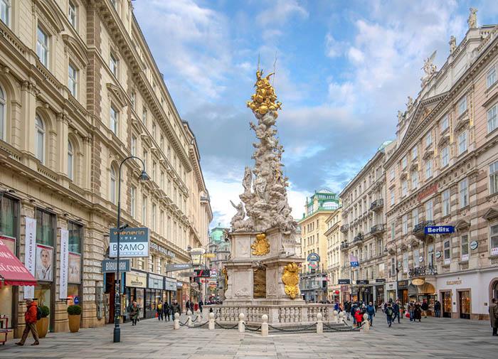 Самый известный Чумной столб в Вене, Австрия.