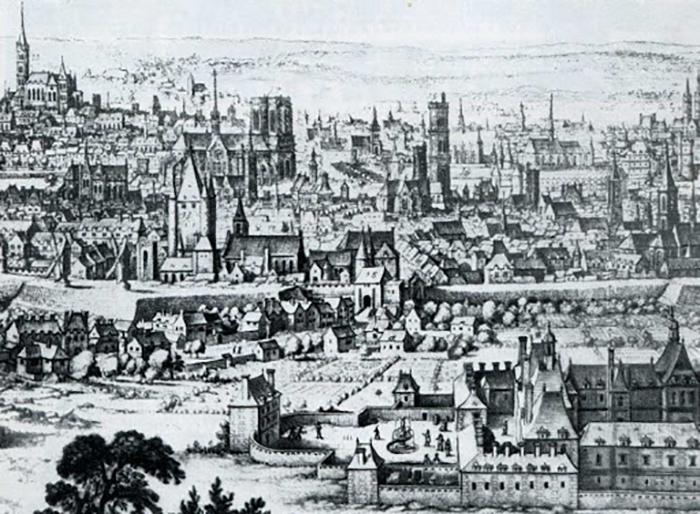 Средневековая гравюра, изображающая Париж и Лувр.