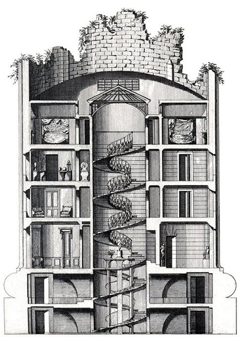 Поперечный разрез Дома в форме разрушенной колонны в Дезерт де Рец.