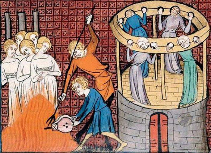 Средневековая миниатюра, изображающая пытки и казни ведьм.