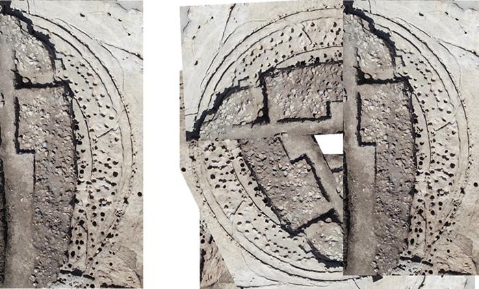 Около трети деревянного круга диаметром более 20 метров было раскопано. Это составное изображение основано на аэрофотоснимке, чтобы дать представление о размерах сооружения.