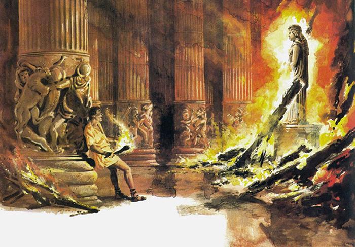 Поджог величественного храма Артемиды Эфесской, скромным преступником Геростратом.