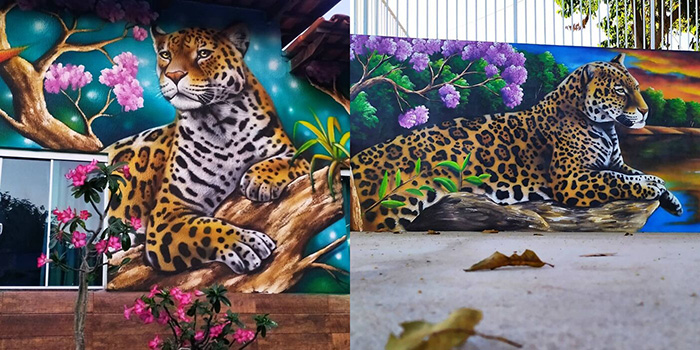 Яркие и оптимистичные полотна Фабио украшают городской пейзаж.