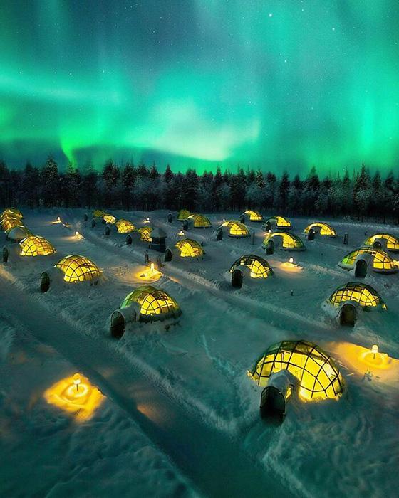Отели Igloo в Лапландии, Финляндия. Фото: reddit.com