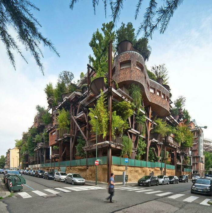 Жилой дом в Турине. Он вмещает 150 деревьев. Фото: reddit.com