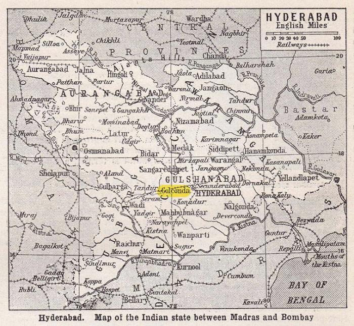На старой карте Хайдарабад из Универсальной энциклопедии Хармсворта, около 1920-х годов. / Фото: Мишель Бриджес / Dreamstime.com