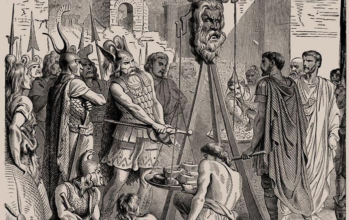 Галльский вождь Бренн и римляне спорят о весе золота, которое побеждённые были вынуждены заплатить после поражения. Иллюстрация Поля Леггера, 1886 год. / Фото: amusingplanet.com