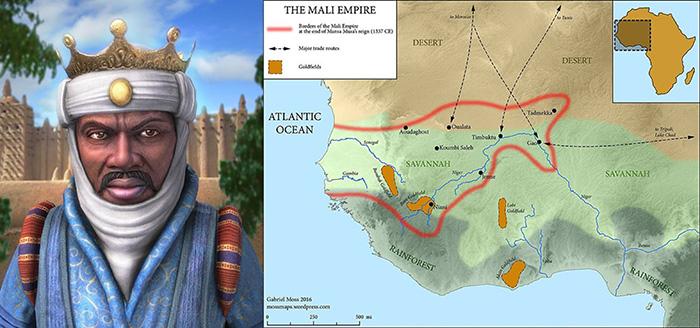 Манса Муса и его империя в конце правления.