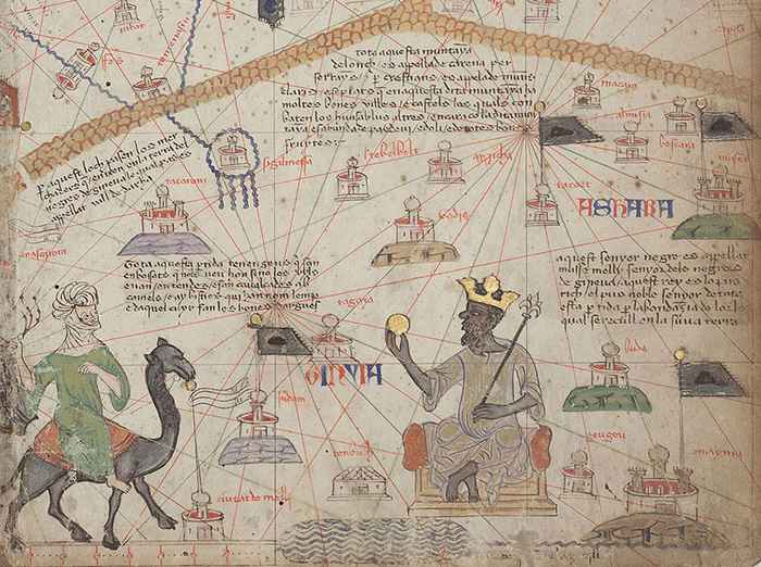Король Манса Муса, изображенный в Каталонском Атласе. / Фото: Wikimedia Commons