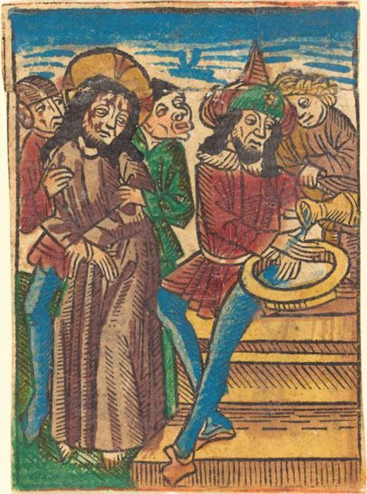 Изображение мужчины, который моет руки, около 1490 года. / Фото: Heritage Images / Getty Images