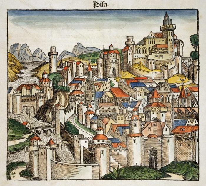 Рисунок средневекового города Пиза. / Фото: Архив исторических изображений / Getty Images