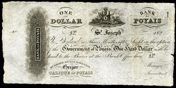 Банк Пояиса, «доллар», напечатанный в Шотландии. / Фото: Национальный музей американской истории, Wikimedia Commons