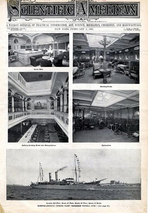 Обложка журнала Scientific American 1901 года с изображением интерьера и экстерьера корабля. / Фото: Wikimedia Commons