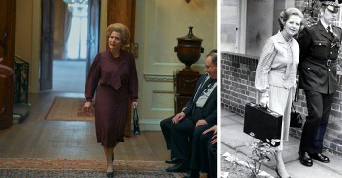 Джиллиан Андерсон в роли Маргарет Тэтчер и настоящая Маргарет Тэтчер в свой первый день в качестве премьер-министра Англии, 4 июня 1979 год. / Фото: Netflix / MovieStills DB и Брин Колтон / Getty Images