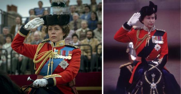 Оливия Колман (в образе королевы Елизаветы II) салютует в фильме и Елизавета II в реальности на этой церемонии, Лондон, 1979 год. / Фото: Netflix / MovieStills DB и Keystone / Getty Images