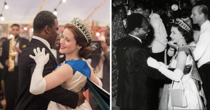 Клэр Фой (в роли королевы Елизаветы) и Дэнни Сапани (в роли президента Ганы Кваме Нкрумы) в сравнении с настоящими королевой Елизаветой II и президентом Ганы, 20 ноября 1961 года. / Фото: Netflix / MovieStills DB и Central Press / Getty Images
