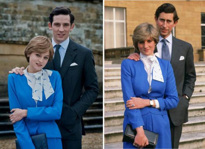 Джош О'Коннор и Эмма Коррин, которые играют принца Чарльза и принцессу Диану в фильме «Корона», сравнивают с настоящими принцем Чарльзом и принцессой Дианой. / Фото: Netflix / MovieStills DB и Тим Грэм / Getty Images