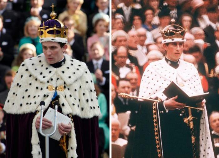 Джош О'Коннор в роли принца Чарльза и сам принц Чарльз в замке Кэрнарвон, 1 июля 1969 год. / Фото: Netflix / MovieStills DB и Анвар Хусейн / Getty Images
