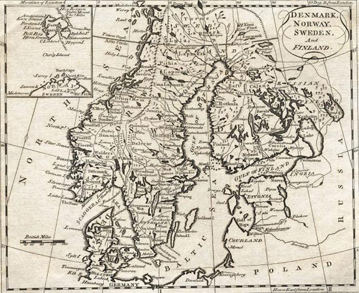 Карта Дании, Норвегии, Швеции и Финляндии. Недатированная гравюра. / Фото: Беттманн / Wikimedia Commons