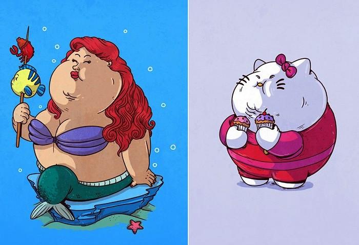 Растолстевшие русалочка Ариэль и Hello Kitty