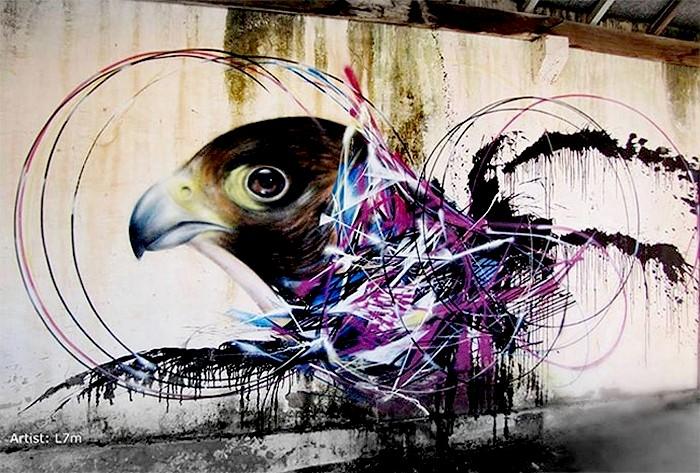 Птичий стрит арт от L7m