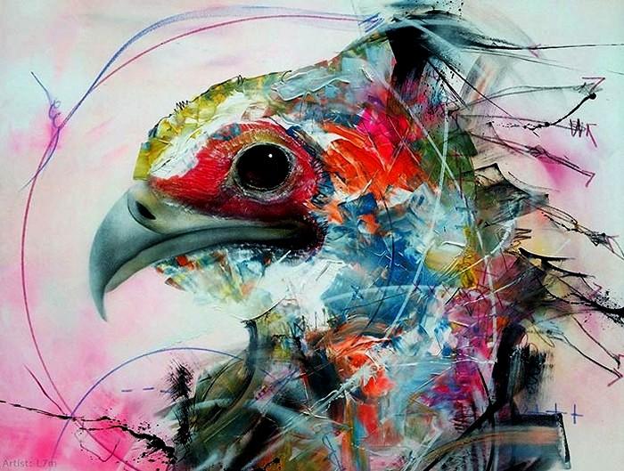 Абстрактное граффити на птичью тему