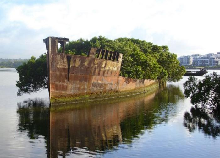 Покинутый корабль в Сиднее, Австралия.