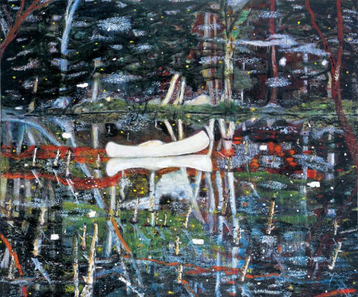 Белое каноэ. Автор: Peter Doig. | Фото: saatchigallery.com.