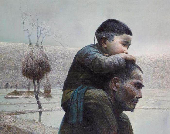 Мужчина и ребёнок. Автор: Luo Zhongli. | Фото: pinterest.com.