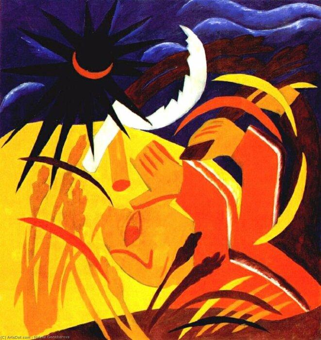 """Полиптих """"Урожай"""", Наталья Гончарова. / Фото: artsdot.com."""