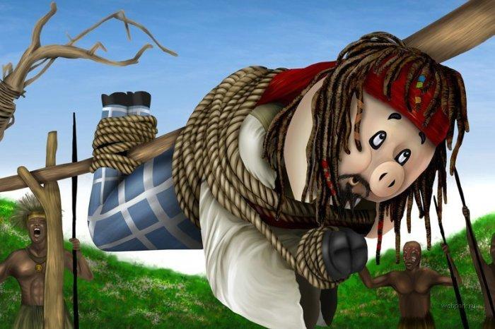 Пираты Карибского Моря. Джек Воробей не смог убежать от аборигенов.