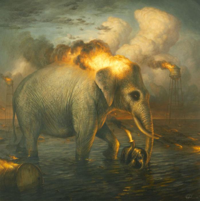 Картины животных в постапокалиптической среде. Художник Мартин Виттфут (Martin Wittfooth).