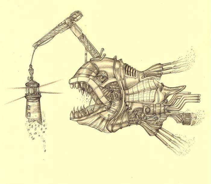 Colossal Crane Angler. (Рыба-кран). Автор рисунка: Marcomatic.