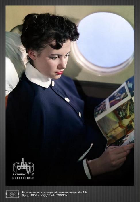 Фотосъёмка для экспортной рекламы АН-10, 1960 год.