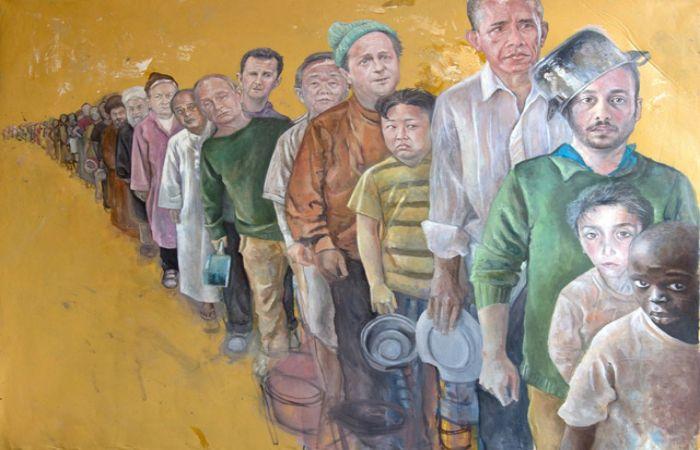 Мировые политики выстроились в очередь за едой, а среди них — сам художник с кастрюлей на голове. Автор: Abdalla Al Omari.