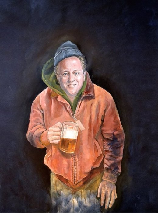 Бывший премьер-министр Великобритании Дэвид Кэмерон похож на работягу, выходящего из паба. Автор: Abdalla Al Omari.