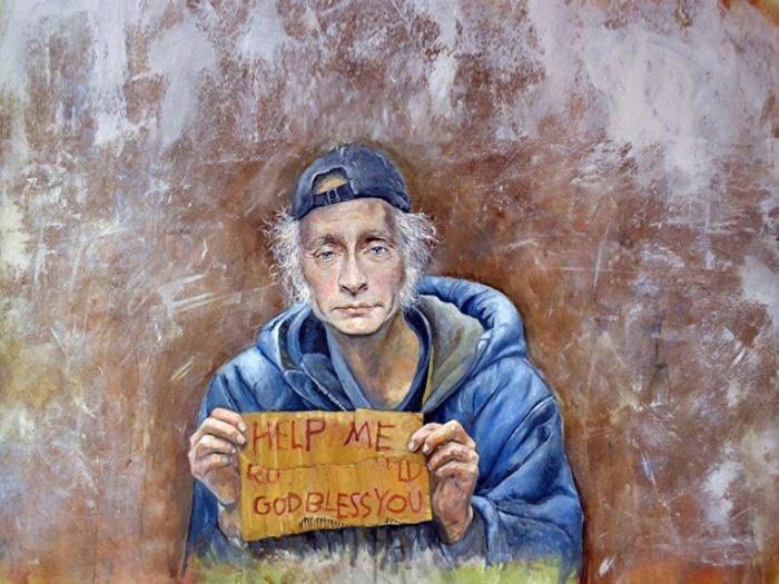 Президент России Владимир Путин в образе бездомного. Автор: Abdalla Al Omari.