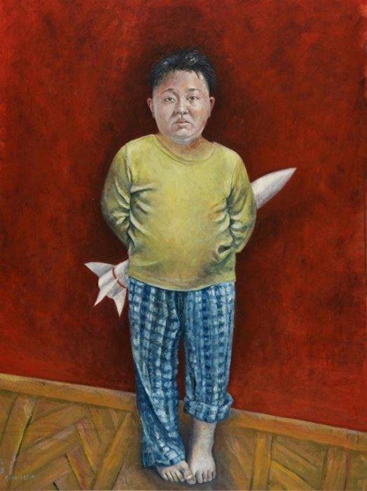 Северокорейский диктатор Ким Чем Ын — непослушный мальчишка, играющий в войну. Автор: Abdalla Al Omari.