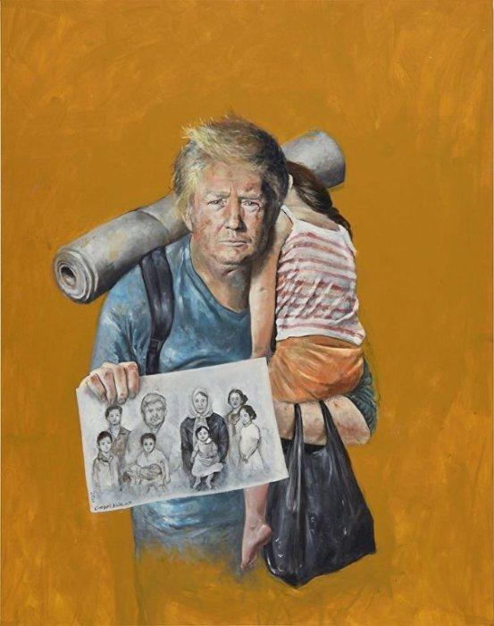 Президент США Дональд Трамп превратился в беженца, который разыскивает своих родных. Автор: Abdalla Al Omari.