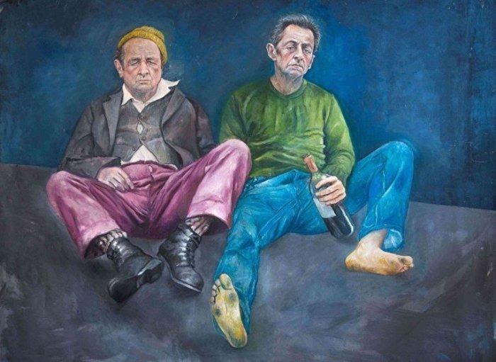 Прежние президенты Франции Франсуа Олланд и Николя Саркози оказались на улице. Автор: Abdalla Al Omari.