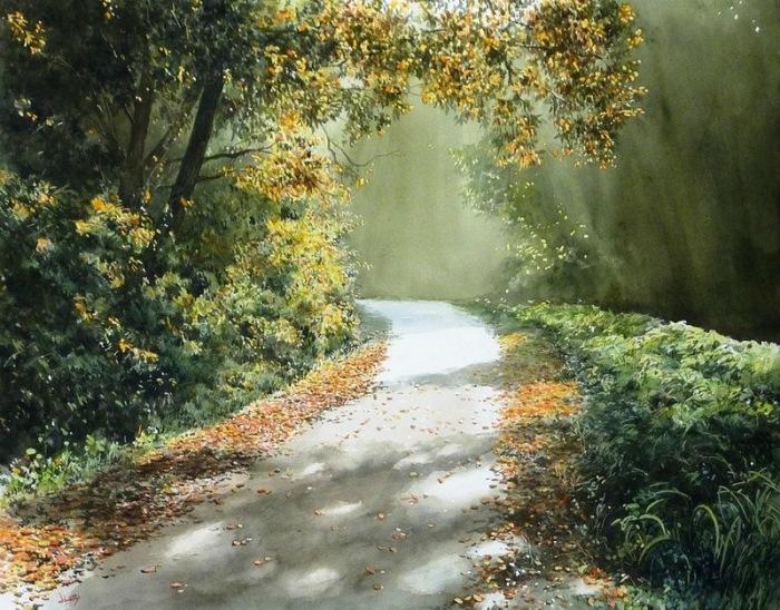 Японский учитель начал рисовать реалистичные пейзажи и стал известным акварелистом